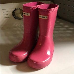 Toddler pink Hunter boots sz 8
